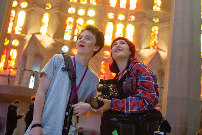 Students in Barcelona church