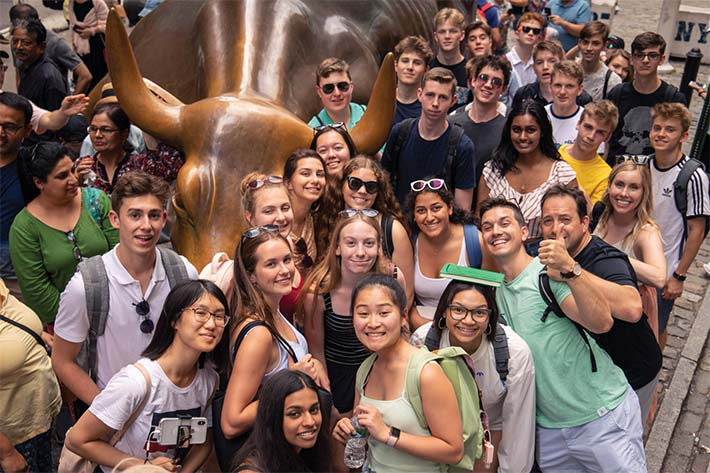 Posing with the New York Bronze Bull