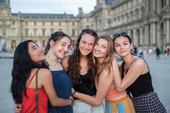 Students in front of the Bastille