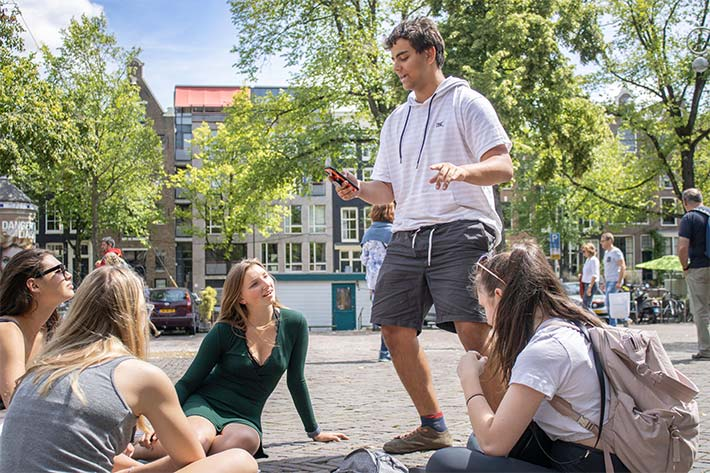Students gathered in the streets of Amsterdam