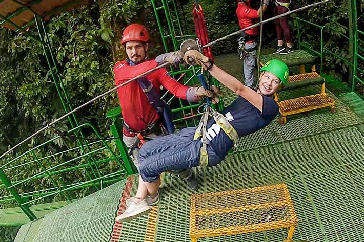 Student ziplining