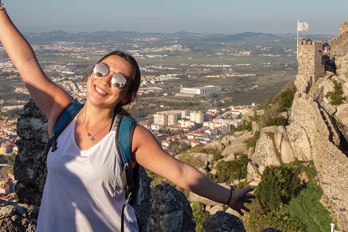 Student overlooking Lisbon