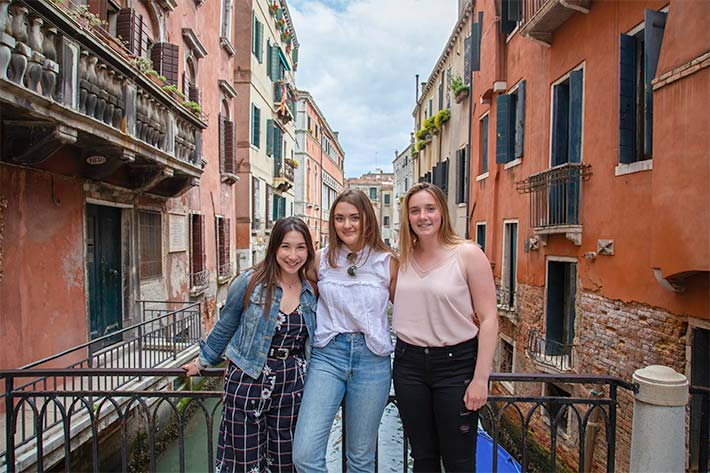 Students in front of the canals