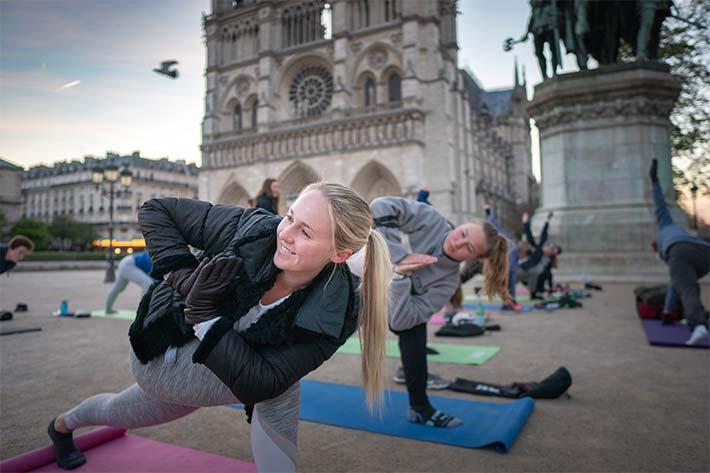 Students doing yoga