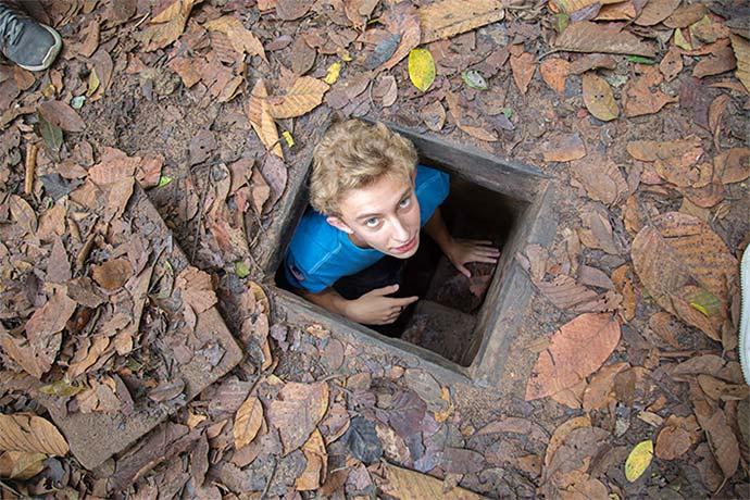 Student in vietcong bunker