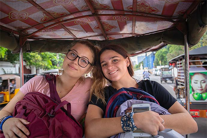 Students travelling the streets of Phnom Penh