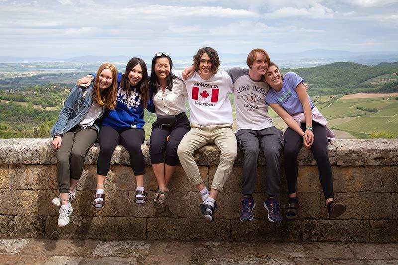 Students overlooking Tuscany