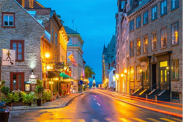 View down the streets of Montreal